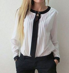 2016 Women Blouses Shirts White Cool Blouse Ladies Chiffon Blouse Cotton Peplum Long Sleeve O-Neck Bow Tops Chemisier Femme 25 Contrast Collar, Chiffon Shirt, Chiffon Tops, Mode Style, Shirt Blouses, Blouses For Women, Long Sleeve Tops, Sleeves, Clothes