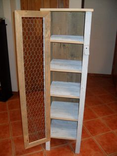White Chicken Wire Door Cabinet by TheFallBasket on Etsy