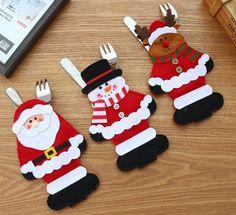 Santa Snowman Silverware Holder