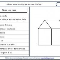 Sheets understanding of written instructions, drawing of a house