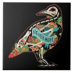 Nevermore Sugar Skull Raven Tile