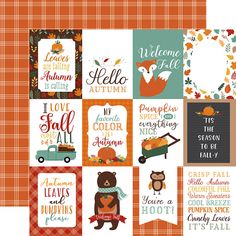 """Say hello to autumn with some pocket style pages using the 3"""" x 4"""" Journaling Cards from the Happy Fall Collection! The package includes one sheet of 12"""" x 12"""" double sided paper by Echo Park that has cut aparts on one side and a plaid pattern on the other. Made in the USA. Pocket Page Scrapbooking, Scrapbook Page Layouts, Scrapbook Pages, Pumpkin Images, Decoupage Printables, Echo Park Paper, Homemade Christmas Cards, Pocket Letters, Journal Cards"""