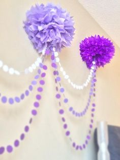 Ombre Pom Pom Garland great for a baby showe or a little girl birthday party Lila Party, Festa Party, Sophia The First Birthday Party Ideas, Birthday Ideas, Little Girl Birthday, Little Girls, Mardi Gras Carnival, Pom Pom Garland, Tulle Poms