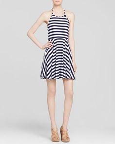 Minkpink Dress - Striped Fit and Flare Halter