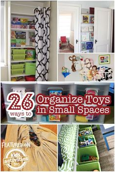 Take over the clutter! Here are twenty-six ways to organize toys in small spaces.