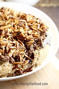 "This is one of the BEST rice dishes you will ever have! Eggplant ""Upside Down"" Rice Cake-aka Ma'loubay is going to be a new dinner favorite! #recipes #dinnerrecipes #ricedishes #eggplant #middleeasternrecipes #sweetpillarfood"