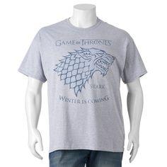 "Big & Tall Game of Thrones ""Winter is Coming"" Tee, Dark Grey"
