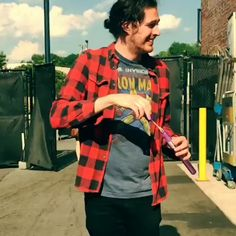 Hozier playing with bubbles