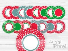 Christmas circle frame clipart , digital round frames, stars, red green blue clip art, for labels and round tags, commercial use, download