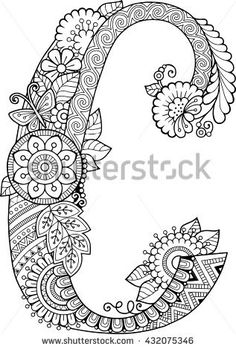 Coloring book for adults. Floral doodle letter.  Hand drawn flowers Alphabet. Letter c