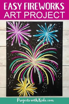 Make this brightly colored chalk pastel fireworks art for a fun and easy art project kids will love! Perfect for New Years, the 4th of July, or Canada Day. #projectswithkids #fireworks #newyearscrafts How To Draw Fireworks, Fireworks Craft For Kids, Fireworks Art, Chalk Pastel Art, Chalk Pastels, Firework Art Ks1, Winter Crafts For Kids, Art For Kids, Easy Chalk Drawings