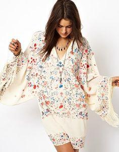 Image 1 ofASOS Premium Kimono Dress With Embroidery And Fringing