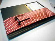 Retro Red Polka Dot notebook pen holder elastic strap band
