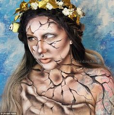 Make-up artist and body painter Jordan Hanz has been sweeping the internet with her awe-inspiring self portraits, which include this one, a crumbling statue of Greek goddess Aphrodite