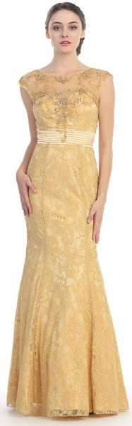 Bateau Neck Meshed Yoke Formal Dress #discountdressshop #formaldress #lace #illusion #golddresses