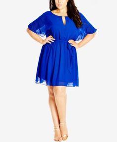 f867bd46ac9ec City Chic Plus Size Flutter-Sleeve Chffon Dress