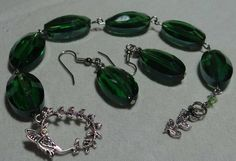 Vintage Lucite Green hand made Bracelet w earrings by AmericanJewelryVinta on Etsy