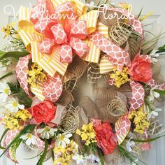 Coral and Yellow Spring and Summer Mesh Wreath by WilliamsFloral on Etsy https://www.etsy.com/listing/227286806/coral-and-yellow-spring-and-summer-mesh
