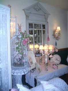 Romantic Shabby Chic Living Room by Mo's Cottage, via Flickr~via Lillian Minne