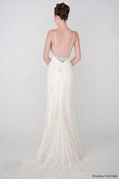 eugenia couture spring 2015 collection spagetti strap heartshape neckline sheath wedding dress isabella 3932 back