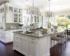 Luxury White Kitchens luxury kitchen /// super-size; i wouldn't want to mop ! | kitchen