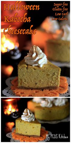 Selecting The Suitable Cheeses To Go Together With Your Oregon Wine My Pcos Kitchen - Creamy Halloween Kabocha Cheesecake. This Cheesecake Is Gluten-Free And Sugar-Free. It Is Perfect For A Low Carb, Keto, Lchf Diet Low Carb Desserts, Healthy Desserts, Fun Desserts, Low Carb Recipes, Delicious Desserts, Ketogenic Recipes, Atkins Desserts, Paleo Dessert, Sugar Free Sweets