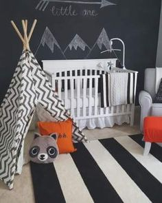 modern black and white woodland baby boy room idea