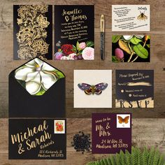Wedding Invitation Suite (Winter, Floral, Black and Gold, Fruit, Butterfly, Moth, Bees, Gold, Dark) Dark Floral Winter Wedding PRINTING