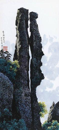 """북한 공훈예술가 """"선우영(鮮于英)""""의 그림『세존봉의 운해』. 호는 산률(山律). 1946년 평양시 용성구역 마산동에서 태어나, 유명한 수예가이자 공훈교원 칭호를 받은 어머니 '노정희'의 영향으로 어려서부터 미술에 관심을 두었다. 경"""