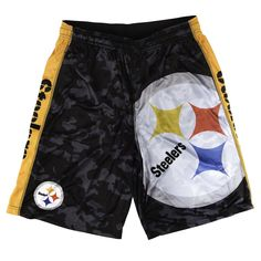 a22d9276d76 Pittsburgh Steelers NFL Mens Big Logo Polyester Shorts from UglyTeams Swim  Shorts, Camo Shorts,