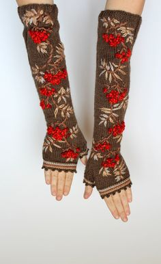 Knitted Fingerless Gloves - Embroidery on Knitting Fingerless Gloves Knitted, Crochet Gloves, Knit Mittens, Knit Crochet, Wrist Warmers, Hand Warmers, Knitting Accessories, Handmade Accessories, Long Gloves