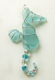 Deep Aqua Sea Glass Christmas Ornament  or Year by oceansbounty