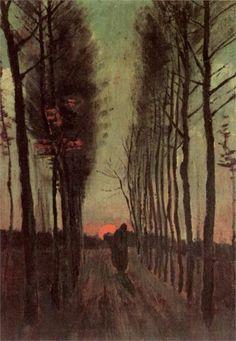 "Art Pics Channel on Twitter: ""Avenue of Poplars at Sunset ~ Vincent van Gogh https://t.co/OkHhiTqljh"""