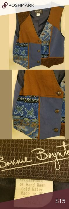 """Western Vest Small Copper Looking Buttons Patchwor Western Vest Small Copper Looking Buttons Patchwork Armpit to armpit about 19"""" Length about 18"""" Tops Blouses"""