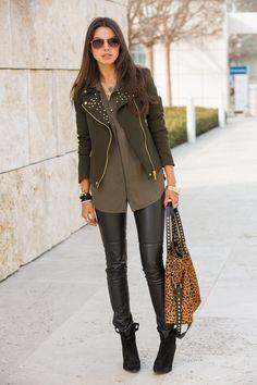 Studded Military Jacket + Animal Print Bag