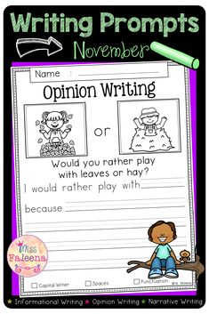 November Writing Prompts contains 60 pages of writing prompts worksheets. This product is suitable for kindergarten and first grade students. Students are encouraged to use thinking skills while improving their writing skills. These pages can be used for morning work, literacy centers, and writing centers. Kindergarten | First Grade | Informational Writing Prompts | Opinion Writing Prompts | Narrative Writing Prompts | Writing Prompts Literacy Centers | Fall Writing Prompts Narrative Writing Prompts, Writing Skills, Writing Centers, Literacy Centers, First Grade Writing, Informational Writing, Morning Work, Thinking Skills, English Vocabulary