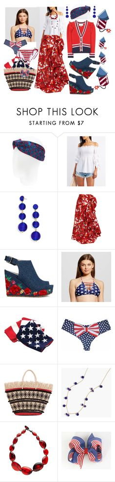 """Happy 4th Everyone! ❤️💙🇺🇸🇺🇸"" by p0llyinurpocket ❤ liked on Polyvore featuring Gucci, Charlotte Russe, BaubleBar, Johanna Ortiz, Kenneth Cole, Xhilaration, Sensi Studio, J.Crew and Jackie Brazil"
