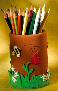 Covered can with eva foam - pencil storage for children