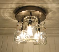Vintage Canning Jar CEILING LIGHT Created NEW by LampGoods on Etsy, $129.00