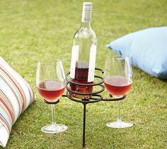 This picnic beverage stake allows you to relax without worrying about anything tipping over.