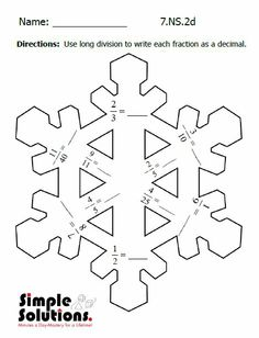 113 best seventh grade printables images on pinterest homeschool keep your kids math skills sharp over winter break with this fun snowflake activity from simple solutions ibookread Download