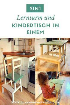 Ein Lernturm ist der Klassiker für kleine Küchenhelfer. Dieser ist DER Ikea Hack für kleine Küchen! Den Lernturm kann man zu einem Kindertisch umklappen und spart so viel Platz in der Küche. Mit ausführlicher Schritt-für-Schritt Anleitung ist dieses DIY schnell gebaut. #lernturm #diy #ikeahack #lifehack #diylernturm #küchenhelfer #learningtower #küchendiy #ikeahocker #ikea