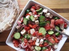 Easy Greek Salad - I might add some grapes and more peppers and take out the raw onions