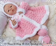 Baby and Doll Hand Knit Designs for Sale Knitting Dolls Clothes, Baby Doll Clothes, Crochet Doll Clothes, Knitted Dolls, Crochet Dolls, Barbie Clothes, Baby Dolls, Baby Knitting Patterns, Baby Patterns