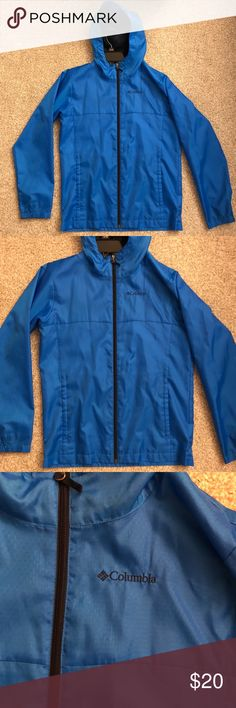 Columbia Blue Boys Rain Jacket Columbia Blue Boys Rain Jacket. Like new. No flaws at all. My brother only wore it once. His name is written on the size tag but if it gets sold I will cut that out. Size Large (14-16) boys Columbia Jackets & Coats Raincoats