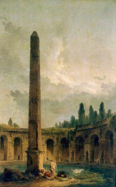 Hubert Robert - Decorative Landscape with an Obelisk, Hermitage Museum, Saint Petersburg.
