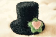 2 inch Needle Felted Wool Black Top Hat by FeltingOutsideTheBox
