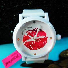 Betsey Johnson Watch MARILYN Smooch Pink KISS LIPS Pout White Strap Rare NIB #BetseyJohnson #Fashion