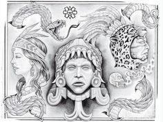 Aztec Art Drawings   Pin Aztec Art Drawings Lowrider Tattoos Hawaii on Pinterest
