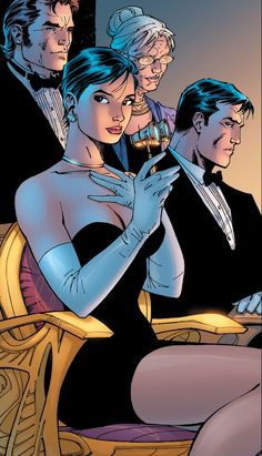 Selina Kyle (Catwoman), Bruce Wayne (Batman), Tommy Elliot (Hush) and Dr Leslie Thompkins - from Batman: Hush. Art by Jim Lee